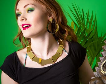 Bamboo choker necklace - laser cut gold acrylic