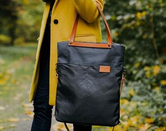 CHAMELEON Grey bag / handbag and backpack in one bag / crossbody bag / backpack / tote bag / natural leather handles and removable strap