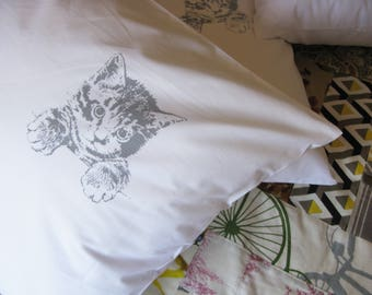 Pillow cases, Set of Two, hand printed, kitten