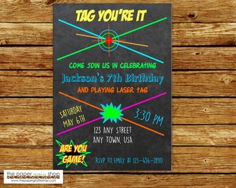 Laser Tag Invitation | Chalkboard Laser Tag Birthday Invitation | Laser Tag Party | Laser Tag Birthday Party