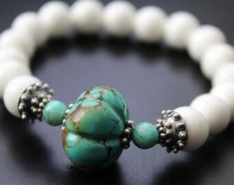 Carved turquoise melon bead and white shell bracelet genuine turquoise bracelet beach boho summer resort vacation bracelet stretch bracelet