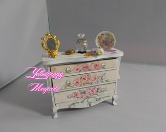 1/12th miniature dollhouse Shabby chic small Chest of Drawers Hand painted