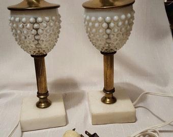 Vintage White Hobnail/Brass/Marble Lamp set