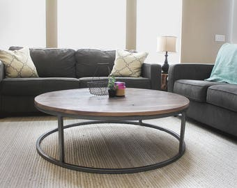 Round Coffee Table, Wood and Metal Accent Table, Walnut Top