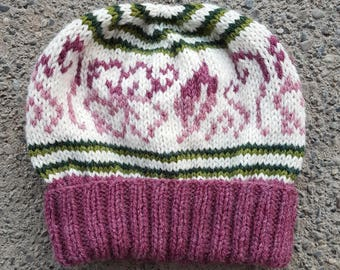Spring Flowers with Green Stripes -- Handknit Beanie -- Ready to Ship