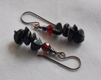 Obsidian Chip Black & Red Drop Boho Earrings