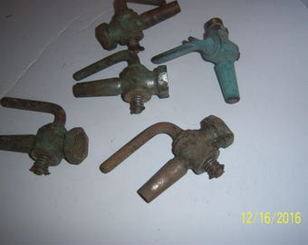 Lot of 5 Antique Decorative Brass Metal Beer Keg Taps Water Spout Spigot Faucets Hosebibs Steampunk Industrial
