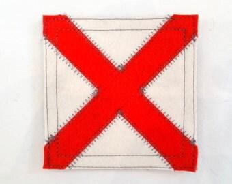 Nautical signal flag letter V wool felt coaster