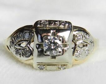Antique Diamond Engagement Ring 14K Old European Cut Diamond .33 Carat tdw Art Deco Diamond Ring 1920s Engagement Ring Gift for Women