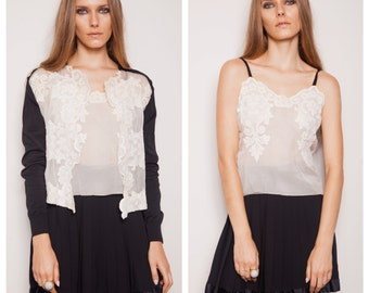 numbered vintage 70s/80s CHRISTIAN DIOR silk lace camisole cardigan twinset