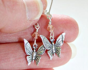 Mothers Day Gift,From Son,For Grandma,For Nana,For Sister,Swarovski,Silver,Butterfly Earrings,Birthday,Gift for Mom,Fibromyalgia,Unique