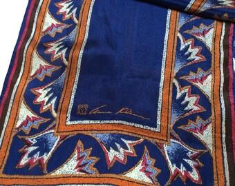 Vintage Anne Klein Silk Scarf, Designer Silk Scarf, Navy Blue with Rust, Excellent Condition, 1980s