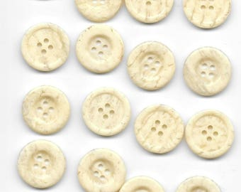 16 Ecru Beige Buttons Vintage 14/16 inch 4 Holes Sewing  102 B2