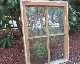 22 x 29 Vintage Window sash old 4 pane  from 1930 Arts& Crafts