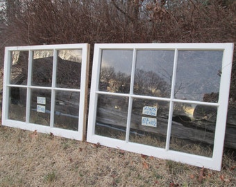 2- 31 x 25 Matching Vintage Window sash old 6 pane from 1970s Arts & Crafts
