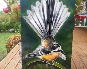 OUTDOOR, Garden Wall ART, New Zealand FANTAIL Bird, by New Zealand artist Kay Satherley, Large  68 x 30cm, Outside Garden Art,native bird