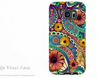 Colorful Paisley Floral Galaxy S7 EDGE Case - Premium Dual Layer Galaxy S 7 EDGE Case with Art - Petals and Paisley - Samsung Galaxy S7 Case