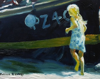 The girl and the boat  (Original oil painting, unframed, on board, 21 x 15cm) Julian Rowe, St Ives.