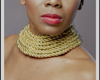 Golden Rope Choker Necklace