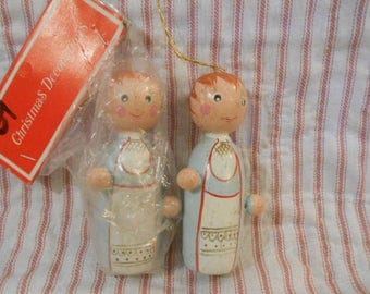 Two Wooden Christmas Angel Ornaments-One In Bag