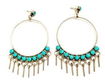 Vintage Zuni Huge Sterling Silver & Turquoise Petit Point Hoop Earrings