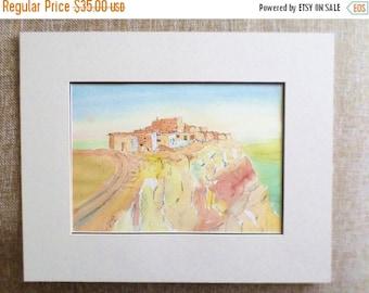 ON SALE Vintage, 1993, Original, Watercolor, Painting, Adobe Village on Bluff, Signed, W C Edewaard, Art, Artwork, Orange, Yellow, Brown, Gr
