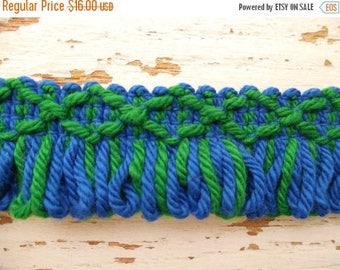 ON SALE Vintage, Loop, Brush, Fringe, Trim, Edging, Blue and Green, 100% Cotton, 8 Yards, 1970's