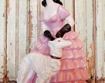 ON SALE Vintage Chalkware or Plaster Mademoiselle Walking Her Dog, Figurine, Pink, White, Black, Hollywood Regency, Cottage Chic, Chippy, Pa