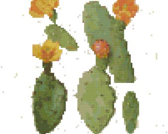 Vintage Cactus Botanical Cross Stitch Pattern, Digital Download PDF
