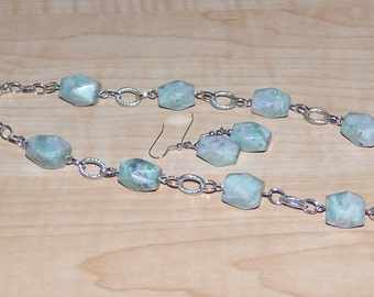 Green Gemstone Necklace Set, Women's Necklace