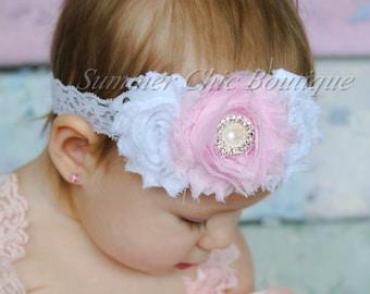 Baby Headband, Infant Headband, Toddler Headband, Girls Headband - Shabby Headband White and Light Pink Headband, Easter Headband
