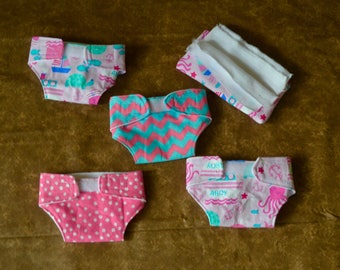 Baby Doll Diapers-Pretend Play-Set of 4 baby doll diapers and wipes