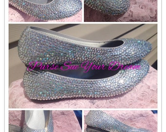 Swarovski Crystal Rhinestone Wedding Ballet Flats - Bridal Flat Shoes - Cinderella Slippers - Bridal Swarovski Crystal Shoes - Wedding Flats