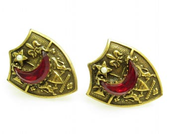 Large Vintage Cufflinks Coat of Arms Crescent Moon Star Mens Jewelry H836