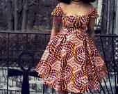 Ade - African Print Wax Print Dress -SM-XXL
