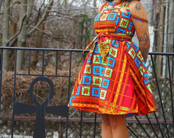 Nia - African Ankara Print Wax Print Dress