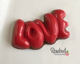 "12 Chocolate ""LOVE"" Candy Favors Wedding Bridal Shower Favors Valentine's Day"