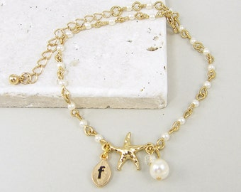 Personalized Anklet, Starfish Anklet, White Pearl Gold Initial Ankle Bracelet, Nautical Beach Jewelry |BB1-11