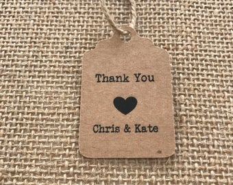 50 x  Personalised Kraft Paper Thank You Tags with Heart and Names
