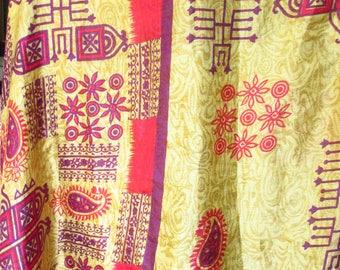 Vintage Silk Saree Fabric 4+ Yards Bright Colors