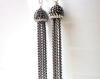 Tassel Earrings, hematite grey earrings, Drop earrings, Chain earrings, 2017 trends, glam earrings, graphite grey earrings, crystal earrings