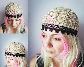 Black Gold Summer Beanie HAT COTTON Chemo hat women summer hats beige Sparkly Ecru hat Black Lace Beanie Skull Cap Flower hat