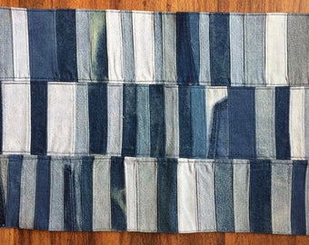 Upcycled Denim Mat Patchwork Mat Denim Mug Rag Rug Recycled Rug Handmade  Throw Rug Blue Kitchen