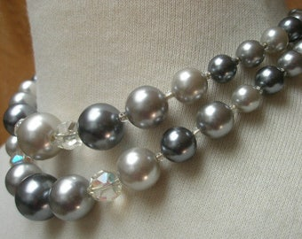 vintage 50s gray pearl crystal 2 strand choker japan 3 tone pearls necklace adjustable 14-16 inches