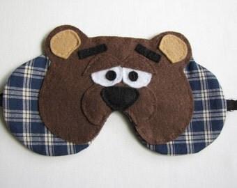 Teddy Bear Face Sleeping Mask, Teddy Bear Plaid Sleep Mask, Adjustable Bear Face Sleep Mask