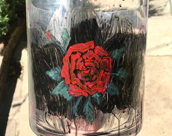 Rose Painted Glass Container
