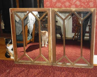 2 Vintage upcycled window sash mirrors old mirrors reclaimed farmhouse window mirrors Simply fabulous matching pr.
