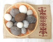 16 rustic Felted Easter eggs in vintage woven nesting Bowl with Basket cottage chic wicker grey white brown taupe ecru beige ornaments