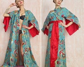 "One custom ""Haiku"" sleeve robe. Lined for modesty. Long kimono robe Bridal robe Wedding robe Art Deco robe Bohemian robe with pockets"