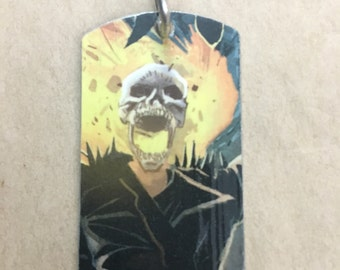 Ghost Rider Upcycled Comic Book Dog Tag, includes necklace or keychain. Ghost Rider dog tag. Ghost Rider keychain.